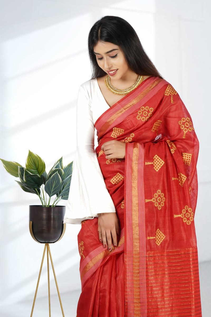 Red Embroidered Tussar Silk Saree - Vayan Clothing