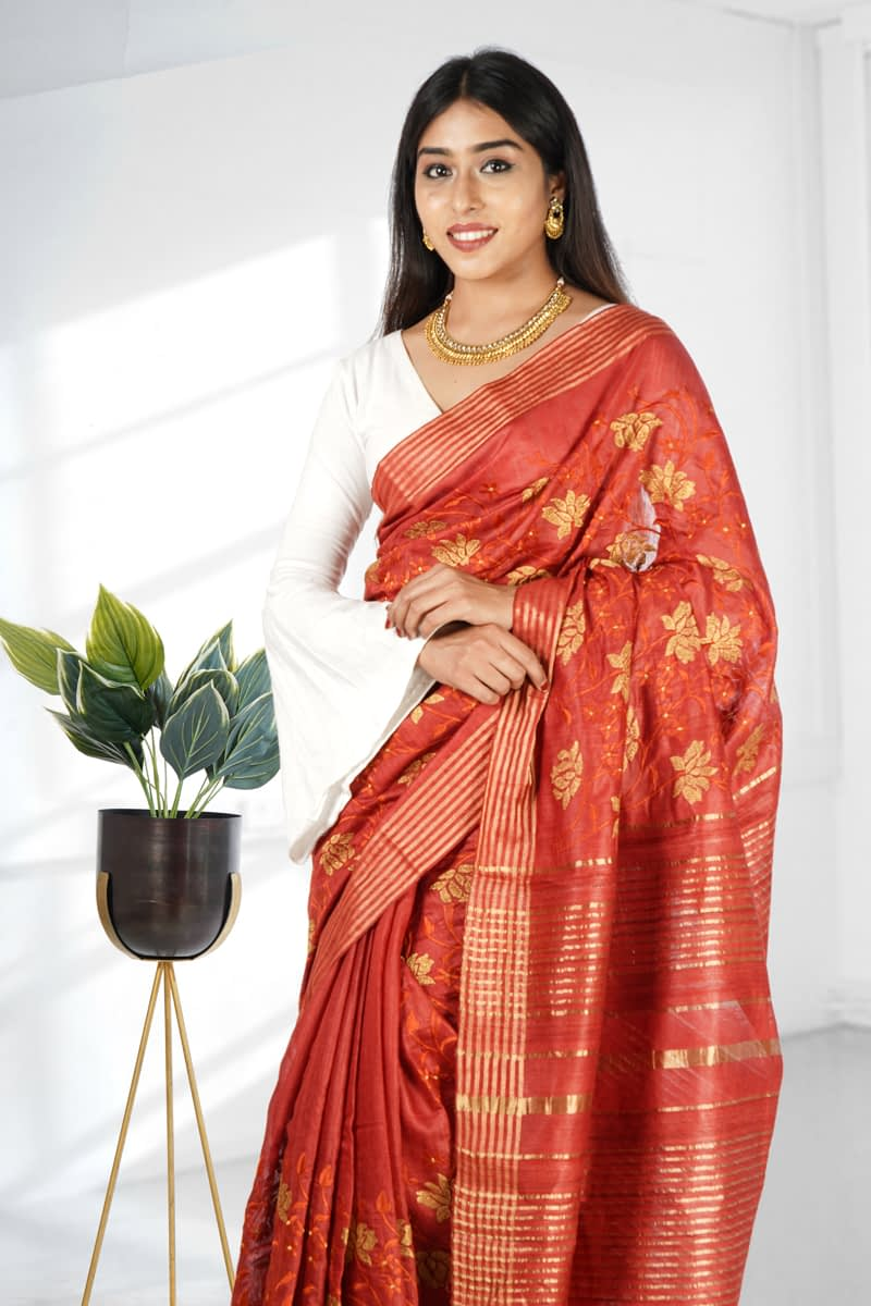 Red Embroidered Tussar Silk Saree - Vayan Clothing
