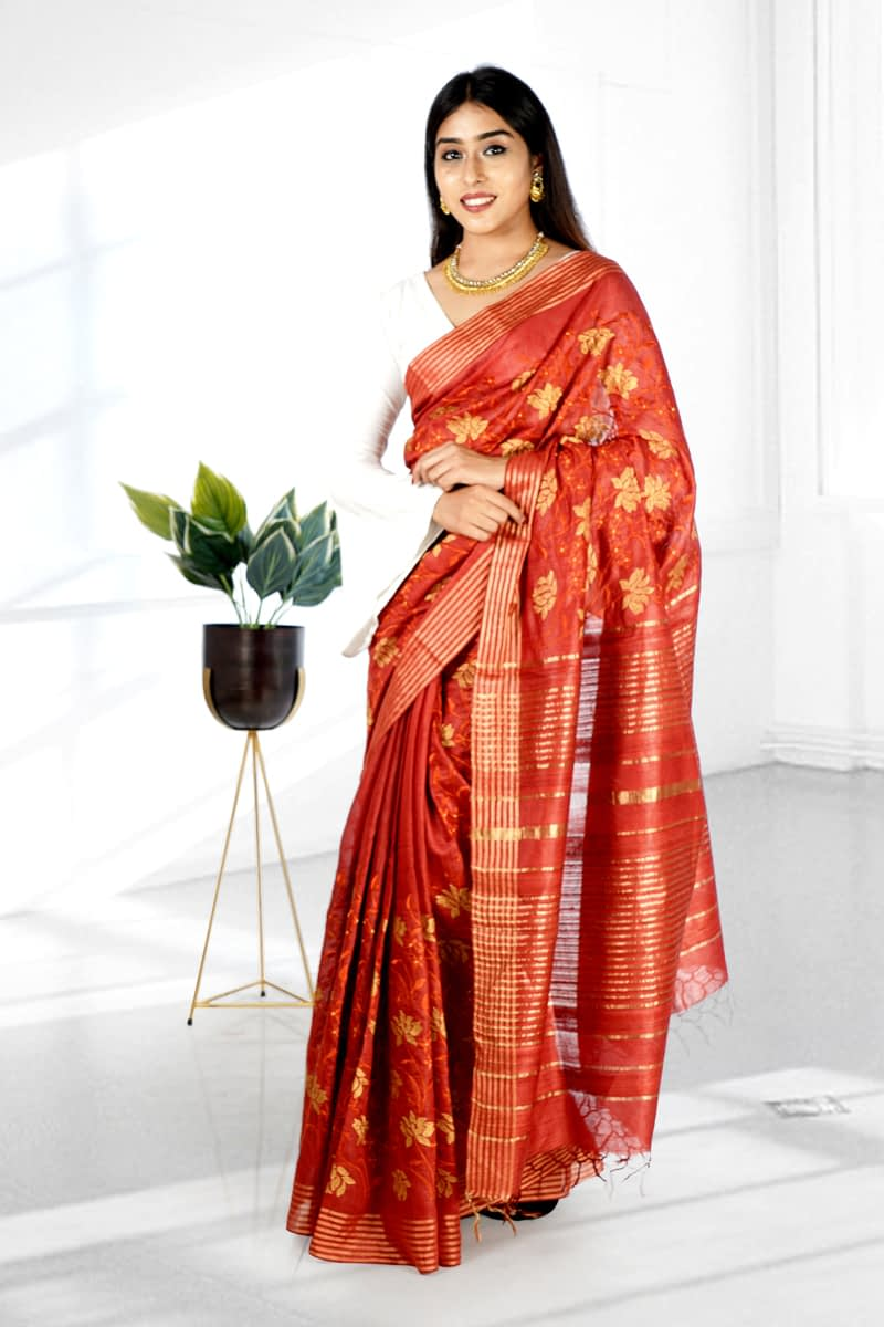 Red Embroidered Silk Sarees - Vayan Clothing