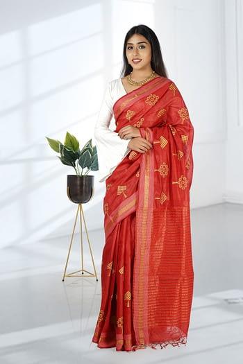Red Embroidered Tussar Silk Saree, Kosa Silk Saree Chhattisgarh - Vayan Clothing