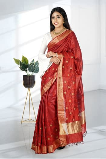 Embroidered Tussar Silk Saree | Chhattisgarh Kosa Silk Saree - Vayan Clothing