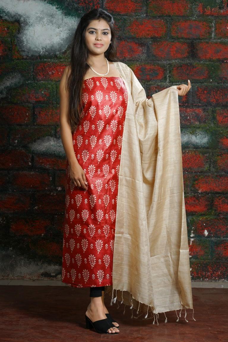 Printed Tussar Silk Suit Set - Vayan Clothing